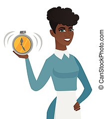 Young african-american cleaner holding alarm clock