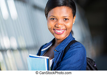 young african american college girl close up
