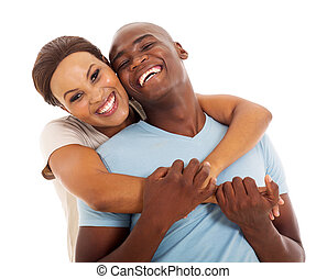young african american couple close up portrait