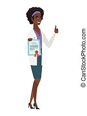 Young african-american doctor holding certificate.