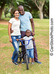 young african american family outdoors