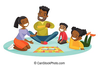 Young african-american family playing board game.