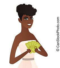 Young african-american fiancee holding money.