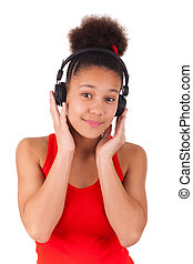 young african american girl listening music