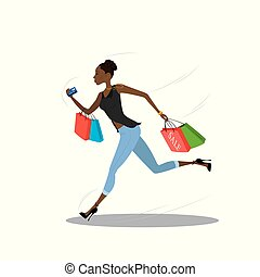Young african american girl running with shopping bags