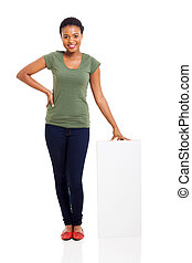 young african american girl with white board