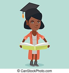 Young african-american graduate holding a book.