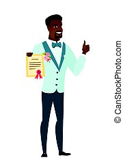 Young african-american groom holding a certificate