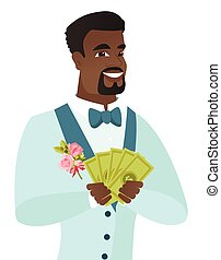 Young african-american groom holding money.