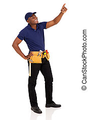 young african american handyman pointing