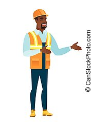 Young african-american happy builder gesturing.
