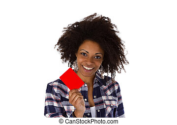 Young african american holding red card