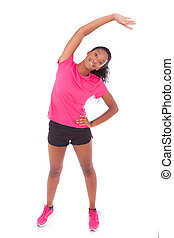 Young african american jogger woman stretching, isolated on white background