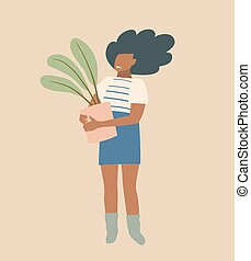 Basic stylish beautiful black woman or girl vintage earthy colors flat design, happy lady with houseplant.