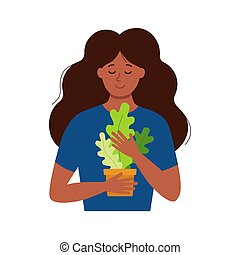 Young African American lady florist standing holding a flowerpot with houseplant urban design. Basic stylish beautiful black woman or girl vintage earthy colors flat design happy lady with houseplant. cute vector illustration