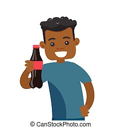 Young african-american man holding bottle of soda.