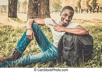 Young african american man in a park
