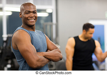 young african american man in gym