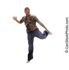 young African American man leaping
