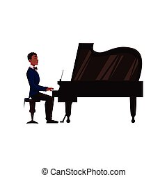 Young African American man playing grand piano with open lid...