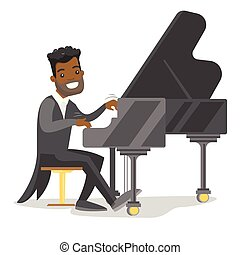 Young african-american man playing piano.