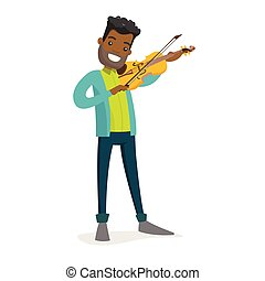 Young african-american man playing violin.