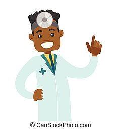 Young african-american otolaryngologist doctor. Audiologist...