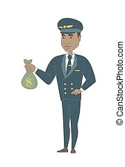 Young african-american pilot holding a money bag.