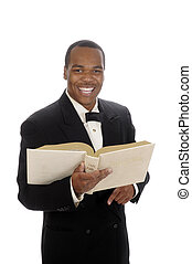 African American preacher giving sermon - young African...