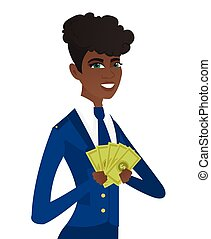 Young african-american stewardess holding money.