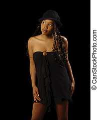 Young African American Teen Black Dress Hat