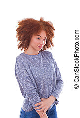 Young african american teenage girl isolated on white background