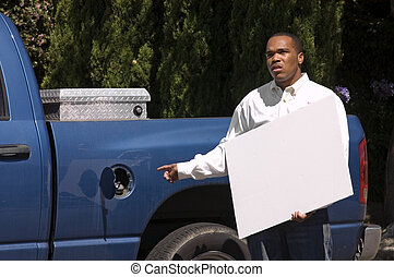 African american with sign