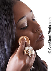 Young African American Woman Applying Makeup Face