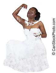 Young African American Woman Covered in Cream