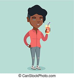 Young african-american woman drinking a cocktail.