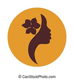 African American woman face icon - Young African American...