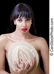 Young African American Woman Hat Over Breasts