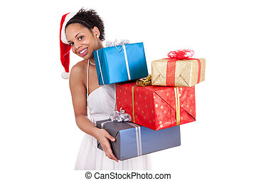 Young African American woman holding a gift
