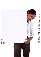Young African American woman holding an advertisement