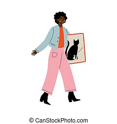 Young African American Woman Holding Framed Picture for Home Decor, Girl Shopping at Marketplace Vector Illustration