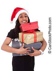 Young African American woman holding gift boxes