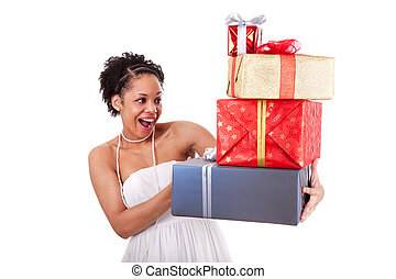 Young African American woman holding gifts boxes