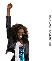 Young African American woman in black jacket