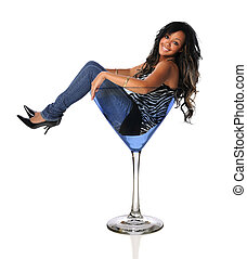 Young African American Woman in Martini Glass