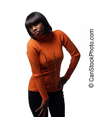Young African American Woman in orange sweater