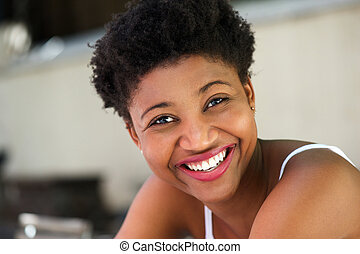 Young african american woman laughing