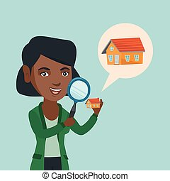 Young african-american woman looking for a house.