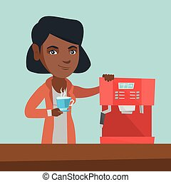Young african-american woman making coffee.