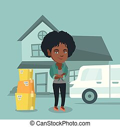 Young african-american woman moving to a new house - Young...